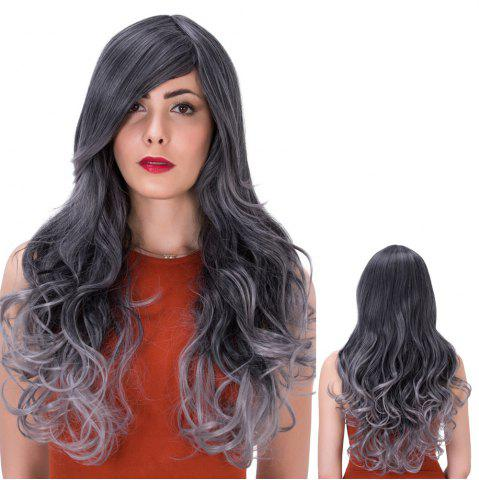 Fancy Colormix Long Side Bang Wavy Impressive Synthetic Wig