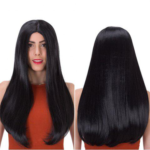 Long Middle Part Tail Adduction Stunning Synthetic Wig - BLACK