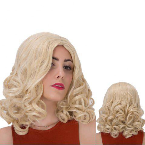 Affordable Shaggy Medium Side Parting Curly Synthetic Wig