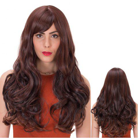 Fancy Palm Red Gradient Long Side Bang Wavy Impressive Synthetic Wig
