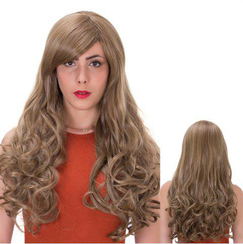 Trendy Flax Highlights Long Side Bang Wavy Impressive Synthetic Wig