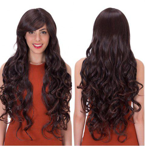 Online Long Inclined Bang Wavy Impressive Synthetic Wig
