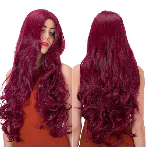 Discount Long Centre Parting Wavy Synthetic Wig PURPLISH RED