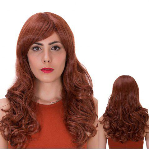 Outfits Prevailing Long Side Bang Curly Synthetic Wig DARK AUBURN