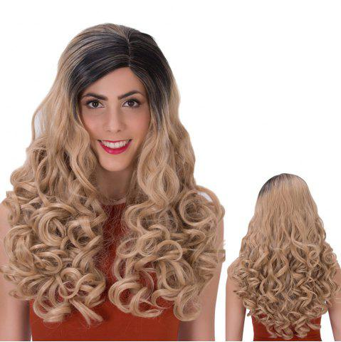 New Ombre Color Long Side Parting Wavy Shaggy Synthetic Wig