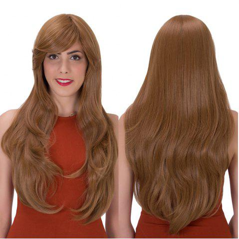 Outfit Long Side Bang Layered Tail Adduction Stunning Synthetic Wig GOLD BROWN
