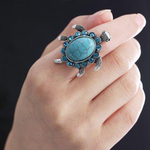 Chic Rhinestone Faux Turquoise Turtle Finger Ring - TURQUOISE  Mobile