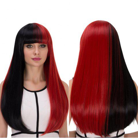 Hot Double Color Long Full Bang Tail Adduction Cosplay Synthetic Wig RED/BLACK