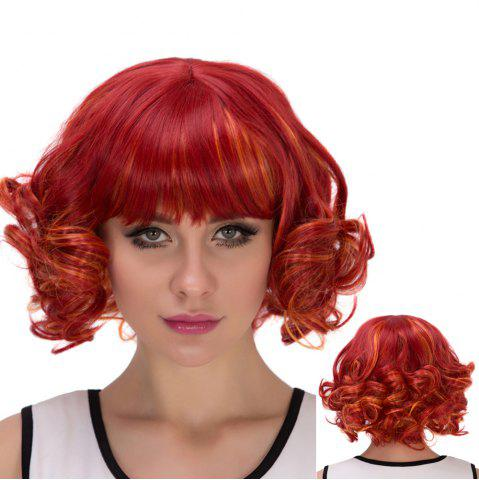 Latest Red Highlights Orange Short Full Bang Curly Cosplay Synthetic Wig