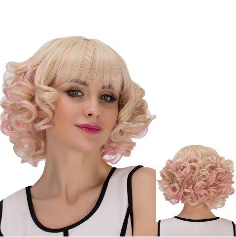 Sale Powder Mixed Light Golden Short Full Bang Curly Cosplay Synthetic Wig
