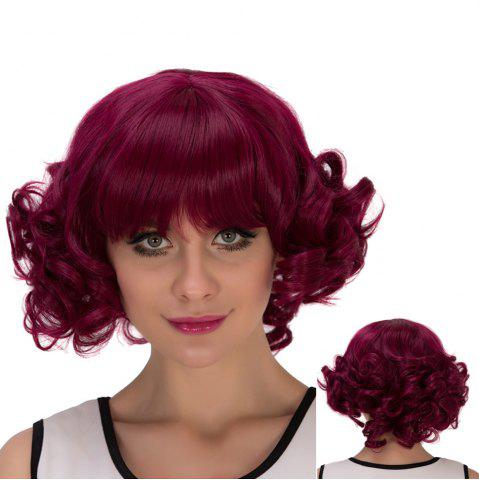 Online Short Full Bang Curly Cosplay Synthetic Wig RED VIOLET