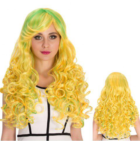 Hot Bright Coloured Inclined Bang Shaggy Wavy Cosplay Synthetic Wig