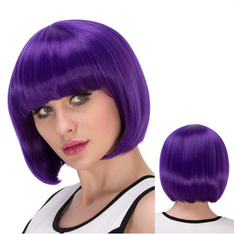Best Exquisite Synthetic Cosplay Short Full Bang Bob Haircut Wig - PURPLE  Mobile