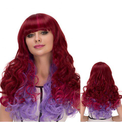 Store Wine Red Gradient Purple Long Full Bang Wavy Cosplay Synthetic Wig