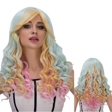 Outfits Colorful Long Oblique Bang Wavy Cosplay Synthetic Wig