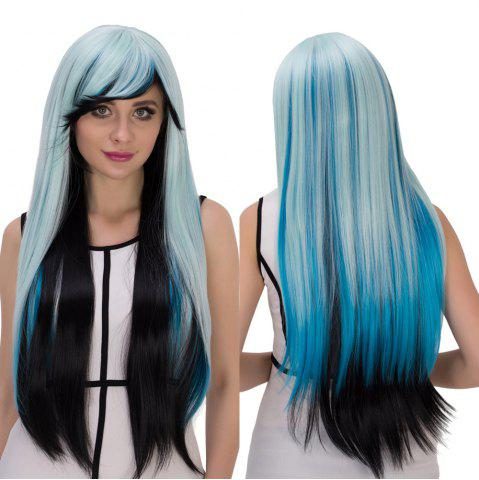 Fashion Cosplay Synthetic Long Multicolor Oblique Bang Straight Wig COLORMIX