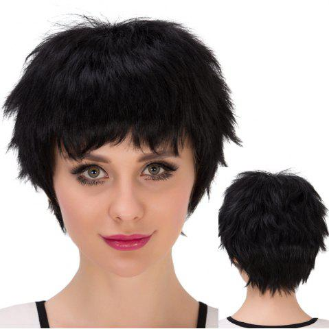 Chic Short Boy Cut Inclined Bang Straight Synthetic Wig