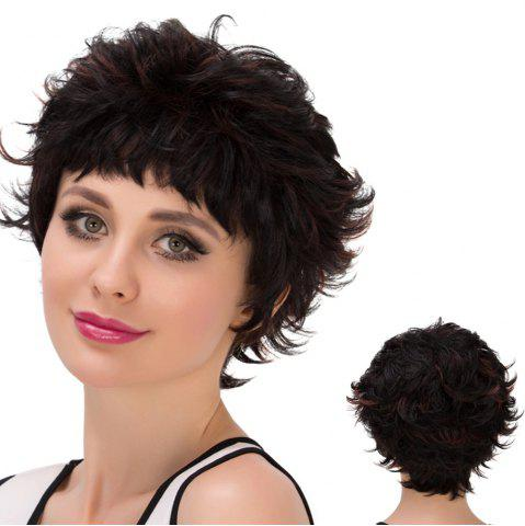 Unique Short Neat Bang Layered Highlight Straight Synthetic Wig COLORMIX