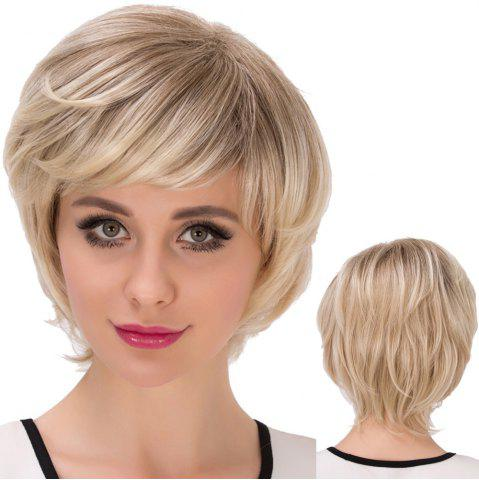 Buy Short Inclined Bang Straight Colormix Layered Synthetic Wig