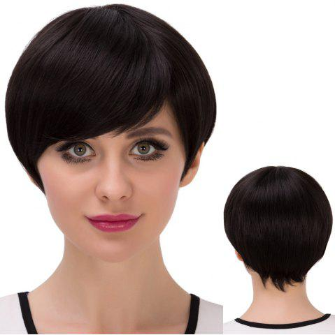 Latest Short Bob Straight Inclined Bang Synthetic Wig JET BLACK
