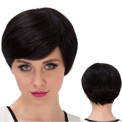 Trendy Ultrashort Inclined Bang Straight Bob Synthetic Wig JET BLACK
