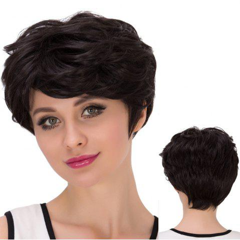 Fancy Short Shaggy Side Bang Straight Synthetic Wig BLACK BROWN