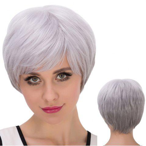 Cheap Short Fluffy Oblique Bang Straight Synthetic Wig SILVER GRAY