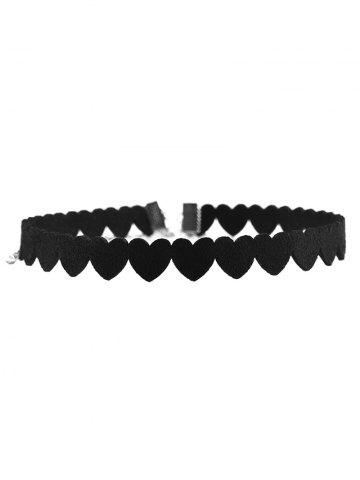 Heart Velvet Choker Necklace - Black