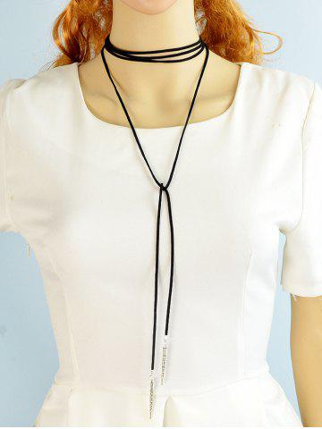 Shop Bolo Faux Suede Lariat Choker Necklace - BLACK  Mobile