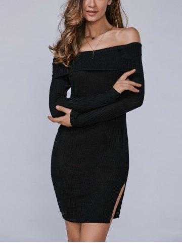Cheap Off The Shoulder Slit Bodycon Dress BLACK XL
