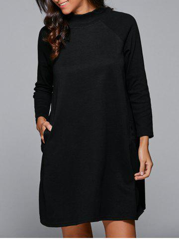 Affordable Raglan Sleeves Pocket Design Dress