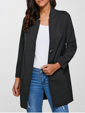 Discount Single-Buttoned Slimming Coat BLACK 4XL