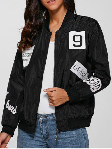 Hot Zip Design Letter Print Bomber Jacket BLACK M