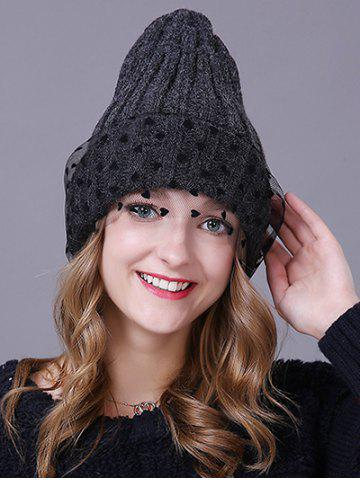 Discount Warm Heart Lace Flanging Knit Faux Wool Ski Hat
