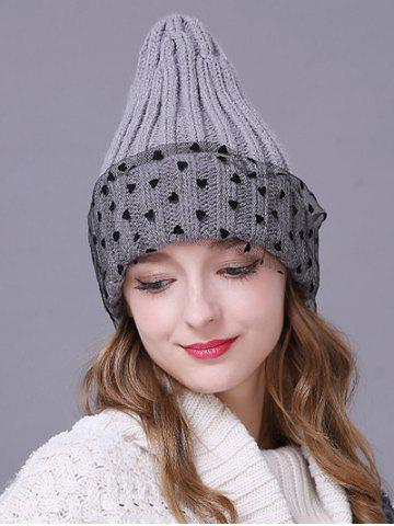 Store Warm Heart Lace Flanging Knit Faux Wool Ski Hat LIGHT GRAY