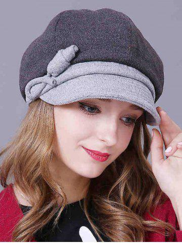 Warm Handmade Flower Newsboy Cap - DEEP GRAY
