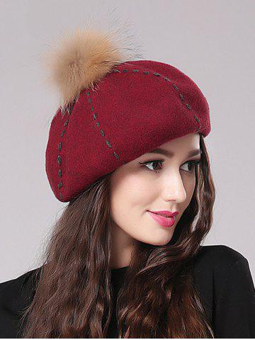Store Streetwear Fuzzy Ball Sewing Thread Felt Beret