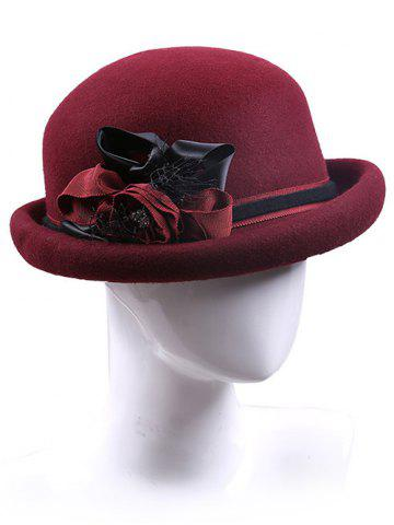 Affordable Streetwear Handmade Ribbon Flower Felt Bowler Hat