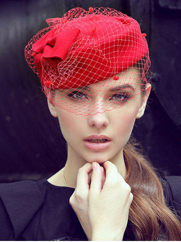Outfit Winter Bowknot Veil Felt Pillbox Hat