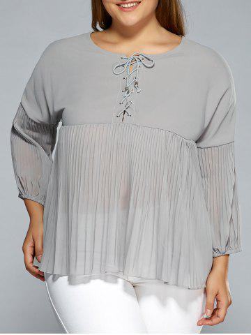 Latest Drop Shoulder Criss Cross Chiffon Pleated Blouse