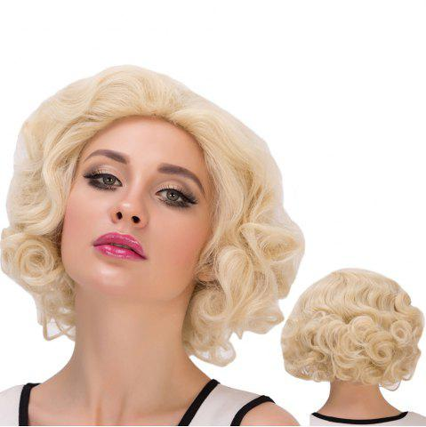 Discount Sparkling Short Curly Cosplay Synthetic Wig LIGHT GOLD