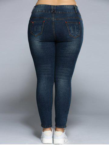 Trendy Plus Size Pencil Jeans - 4XL DENIM BLUE Mobile