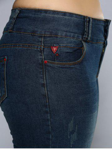 Sale Plus Size Pencil Jeans - 4XL DENIM BLUE Mobile