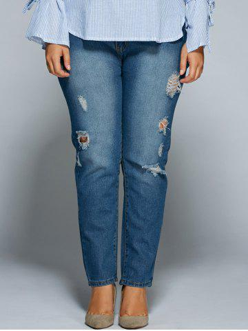 Shop Skinny Plus Size High Waisted Distressed Jeans