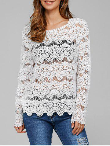 See-Through Wavy Hem Laciness Blouse - WHITE M