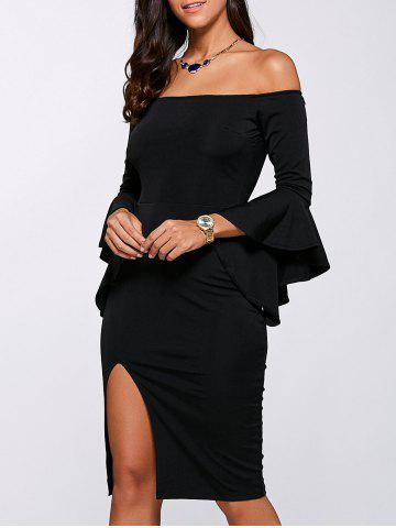Bell Sleeve Off Shoulder High Slit Dress - BLACK M