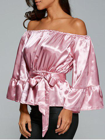 Affordable Off The Shoulder Satin Belted Blouse