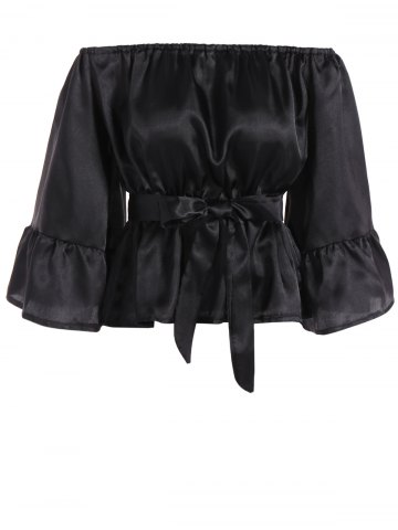Discount Off The Shoulder Satin Belted Blouse BLACK M