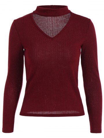 Ribbed Front Cut Out Knitwear - Wine Red - L