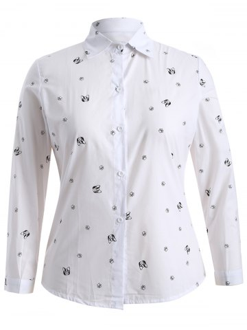 Cheap Plus Size Puppy Print Buttoned Shirt